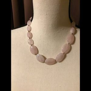 Pink Gemstone Necklace with Gold Tone Beads🍀